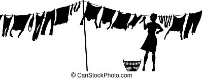 Woman hanging washing - Editable vector silhouette of a...