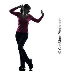 woman happy dancing silhouette