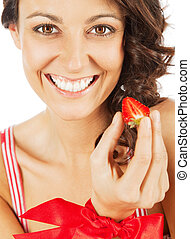 Woman happy strawberry