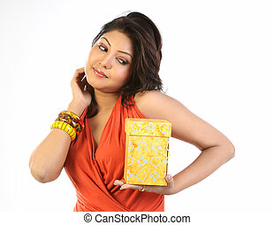 Woman happy with gift box