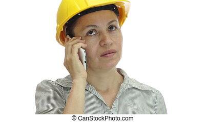 Woman Hardhat Phone Uninterested