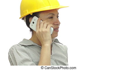 Woman Hardhat Phone Wait Little Bit - Woman isolated on a...