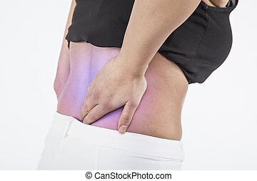Woman has back pain