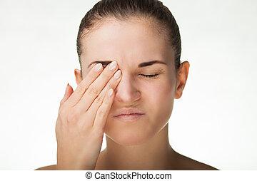 Woman has headache migraine or pain in eyes