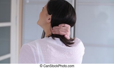 Woman has neck pain - Woman with muscle injury having pain...
