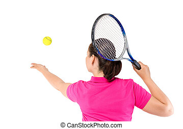 woman has thrown the ball, view from the back on a white background