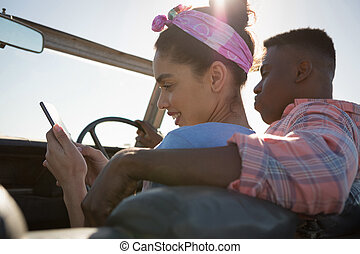 woman használt mobile telefon, autó