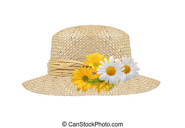 woman hat isolated with flowers on white background
