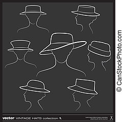 Woman hat vector drawing set.