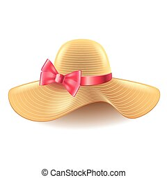 Woman hat with bow isolated on white vector