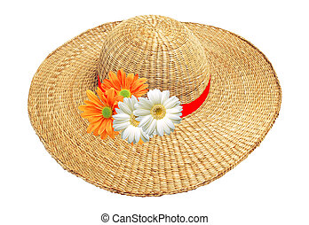 woman hat with flowers isolated on white background