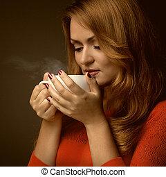 woman hatalom, csípős, csésze, és, mosoly