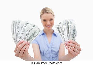 woman hatalom, pénz, alatt, neki, kézbesít