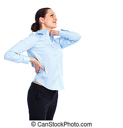 Woman having  a back pain.