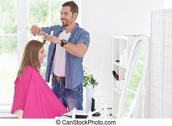 woman having a haircut