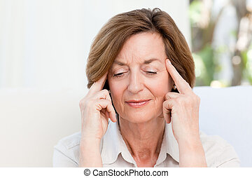 Woman having a headache