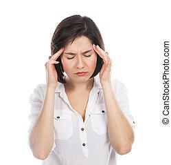Woman having a headache - Portrait of young brunette...