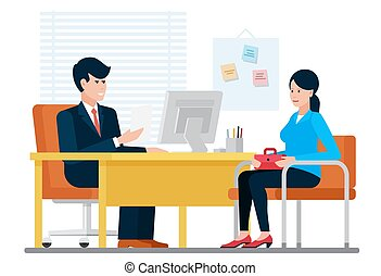 Woman having a job interview recruiting with hr businessman while sitting near desk in office vector illustration.