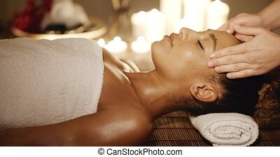 Woman Having A Massage On Face