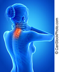 Woman having a painful neck - medical 3d illustration - ...