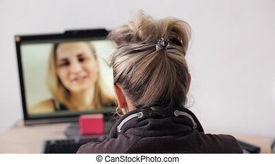Woman having a videocall