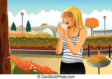 Woman Having Allergy Outdoor