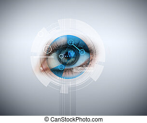 Woman having an eye recognition on grey background