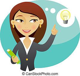 Woman having an idea - Woman with a book having an idea