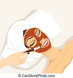 woman having chocolate mask treatment therapy - portrait of...