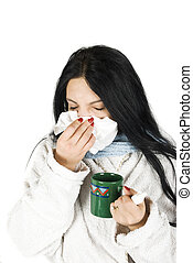 Woman having cold - Woman sneezing nose having cold on white...