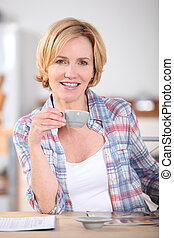 Woman having cup of coffee at kitchen table