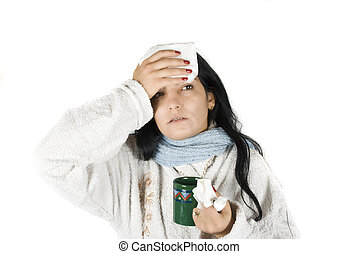 Woman having flu - Sick woman with fever and flu on white...