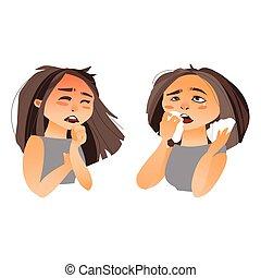 Woman having flu symptoms - runny nose, cough
