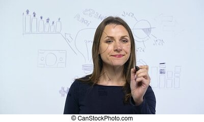 Woman having fun among various growth charts, calculating...