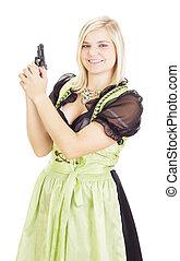 Woman having fun with a gun