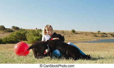 Fun With Their Newfoundland Dogs - Woman Having Fun With...
