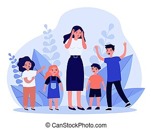 Woman having headache and surrounded by angry children