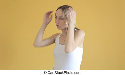 Woman having headache, close up