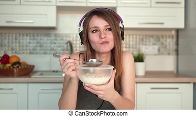 Woman Having Healthy Breakfast - Beautiful woman having...