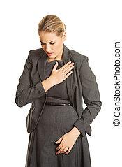 Woman having heart disease.
