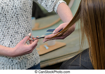 woman having her hair cut at the hairdressers