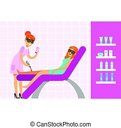 Woman having legs epilation with laser hair removal equipment. Colorful cartoon character vector Illustration