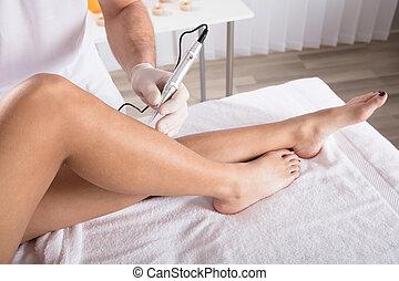 Woman Having Legs Mesotherapy
