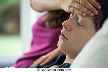 Image of woman having leukemia feeling worse