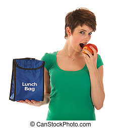 Woman having lunch with fruit