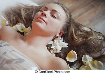 Woman having massage in the spa salon. Body care.