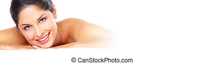 Woman having massage - Young beautiful girl massaging in spa...