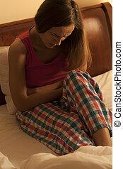 Woman having menstrual pain