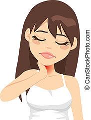 Beautiful brunette woman touching her neck feeling sick