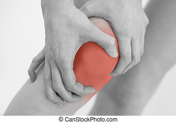 Woman having pain in her knee.